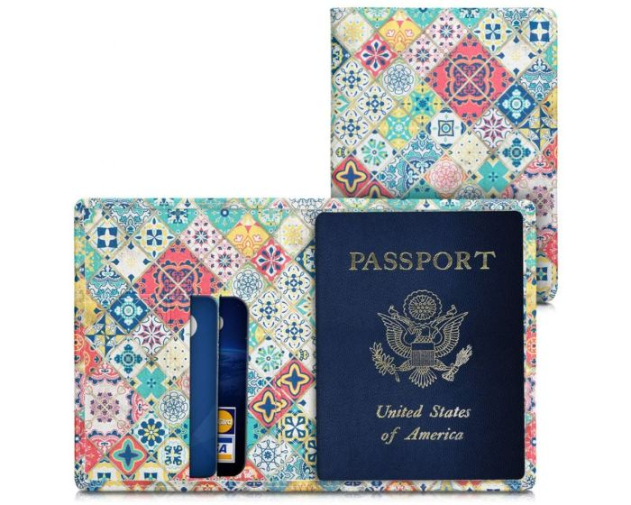 KWmobile Passport Holder with Card Slots (39214.29) Θήκη Καρτών και Διαβατηρίου Moroccan Vibes Pattern Multicolor