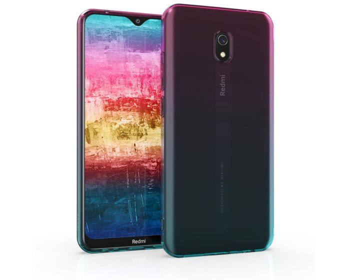 KWmobile TPU Silicone Case (50852.01) Dark Pink / Blue / Transparent (Xiaomi Redmi 8A)