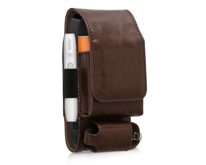 KWmobile PU Leather 3 in 1 Protective Case Magnetic Clip (43831.83) Θήκη Αποθήκευσης - Μεταφοράς για το IQOS Starter Kit - Cognac
