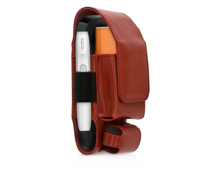 KWmobile PU Leather 3 in 1 Protective Case Magnetic Clip (43831.20) Θήκη Αποθήκευσης - Μεταφοράς για το IQOS Starter Kit - Dark Red