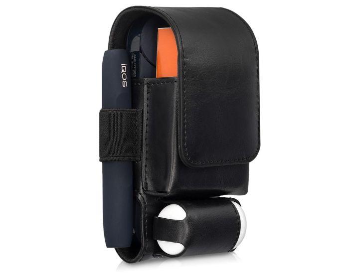KWmobile PU Leather 3 in 1 Protective Case Magnetic Clip (43831.01) Θήκη Αποθήκευσης - Μεταφοράς για το IQOS Starter Kit - Black