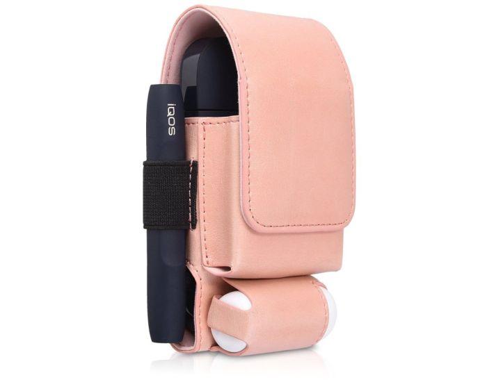 KWmobile PU Leather 3 in 1 Protective Case Magnetic Clip (43831.81) Θήκη Αποθήκευσης - Μεταφοράς για το IQOS Starter Kit - Rose Gold
