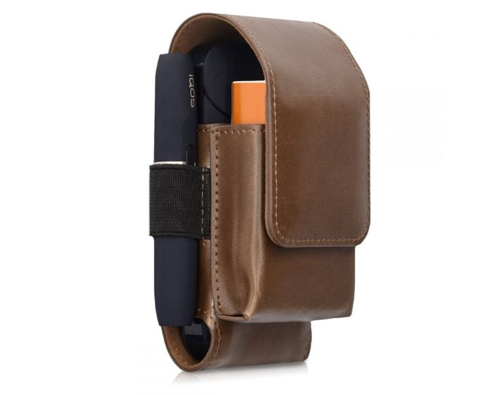 KWmobile PU Leather 2 in 1 Protective Case Magnetic Clip (43830.18) Θήκη Αποθήκευσης και Μεταφοράς για το IQOS Starter Kit - Brown