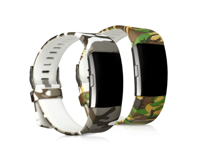 KWmobile Silicone Watch Strap (45930.01) 2x Λουράκια Σιλικόνης Camo Light Green / Dark Green (Fitbit Charge 2)