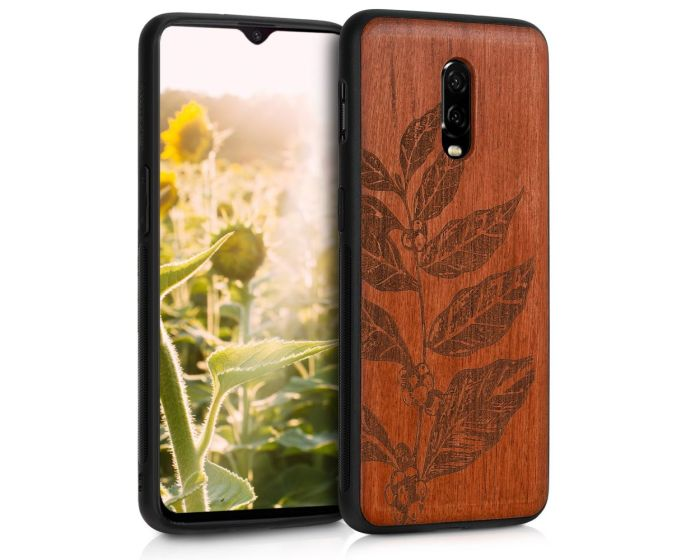 KWmobile Wooden Case Leaves and Berries (46663.07) Ξύλινη Θήκη Rosewood (OnePlus 6T)