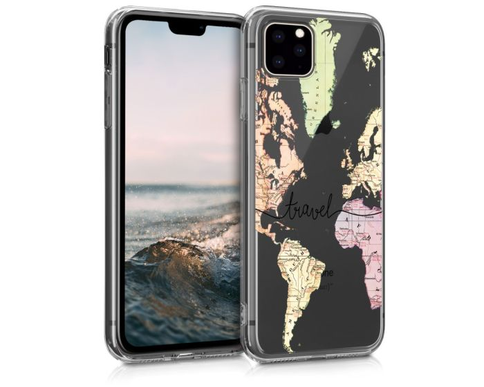 KWmobile Slim Fit Gel Case World Map Travel (49794.02) Θήκη Σιλικόνης Διάφανη (iPhone 11 Pro Max)