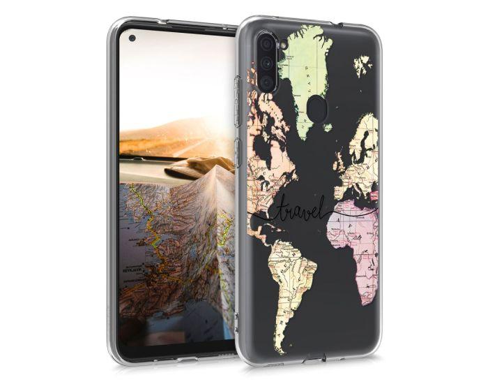 KWmobile Slim Fit Gel Case World Map Travel (52175.01) Θήκη Σιλικόνης Διάφανη (Samsung Galaxy A11)