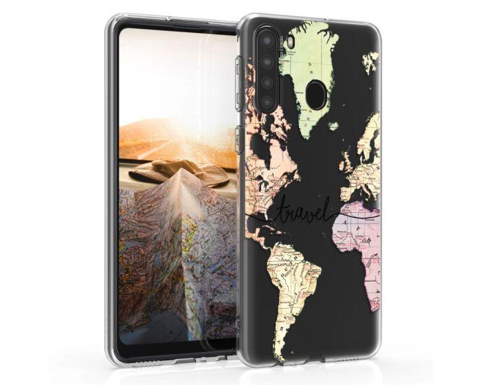 KWmobile Slim Fit Gel Case World Map Travel (52310.01) Θήκη Σιλικόνης Διάφανη (Samsung Galaxy A21)