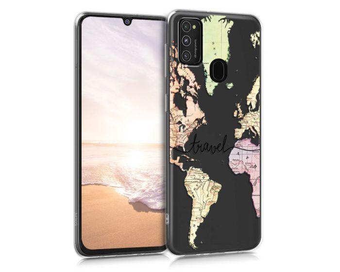 KWmobile Slim Fit Gel Case World Map Travel (52201.03) Θήκη Σιλικόνης Διάφανη (Samsung Galaxy M21 / M30s)
