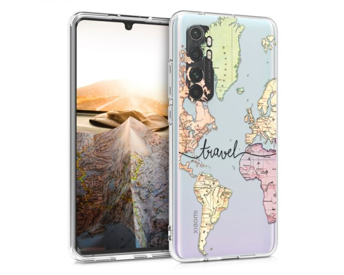 KWmobile Slim Fit Gel Case World Map Travel (52447.01) Θήκη Σιλικόνης Διάφανη (Xiaomi Mi Note 10 Lite)