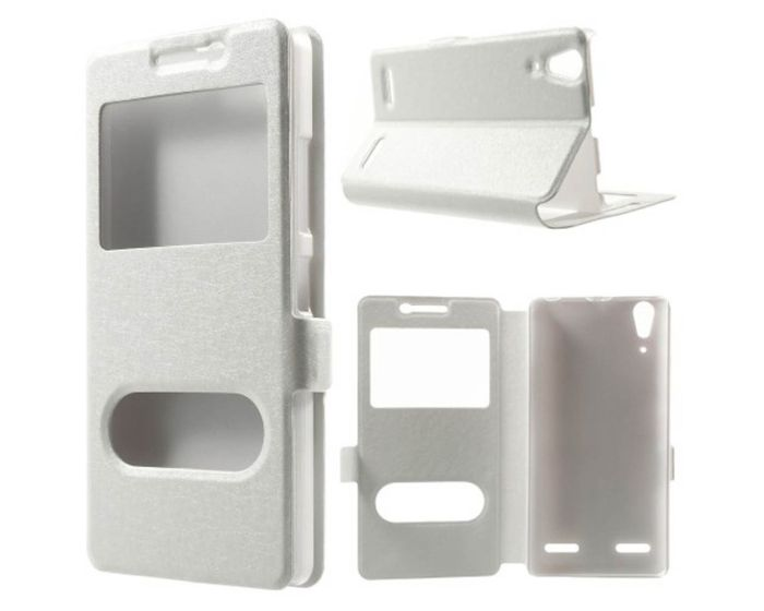 Dual Window Preview Case - Λευκό Sparkle (Lenovo K3 / A6000)
