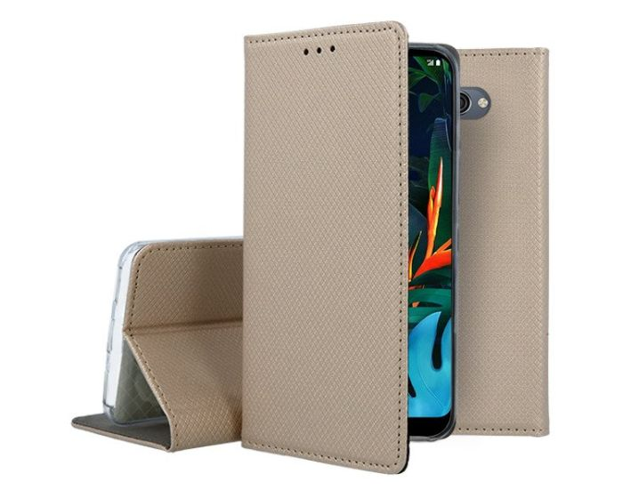 Forcell Smart Book Case με Δυνατότητα Stand Θήκη Πορτοφόλι Gold (LG K50 / Q60)