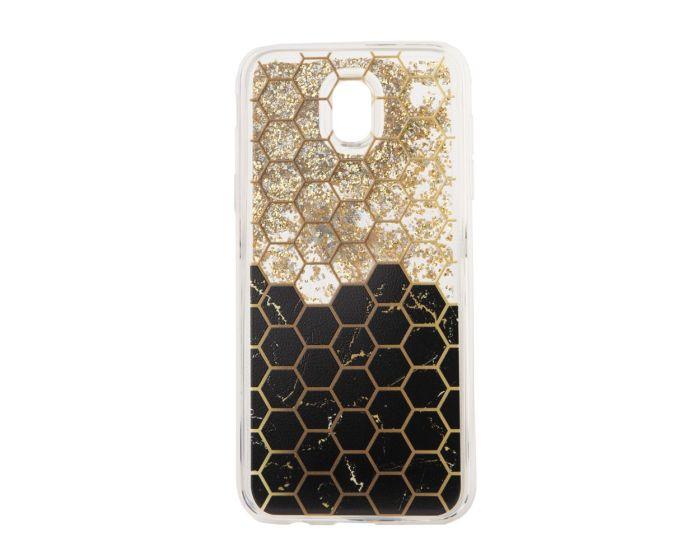 Liquid Glitter Honeycomb TPU Case Θήκη με Χρυσόσκονη - Black (Samsung Galaxy J7 2017)