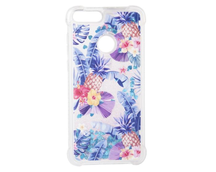 Liquid Glitter Pineapple Case Θήκη με Χρυσόσκονη Blue (Huawei P Smart)
