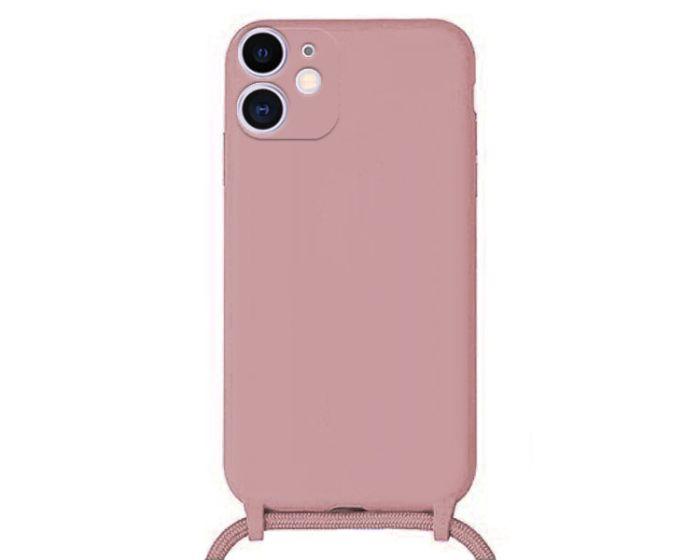 Liquid Silicone Cord Case Θήκη Σιλικόνης με Λουράκι - Pink (iPhone 12)