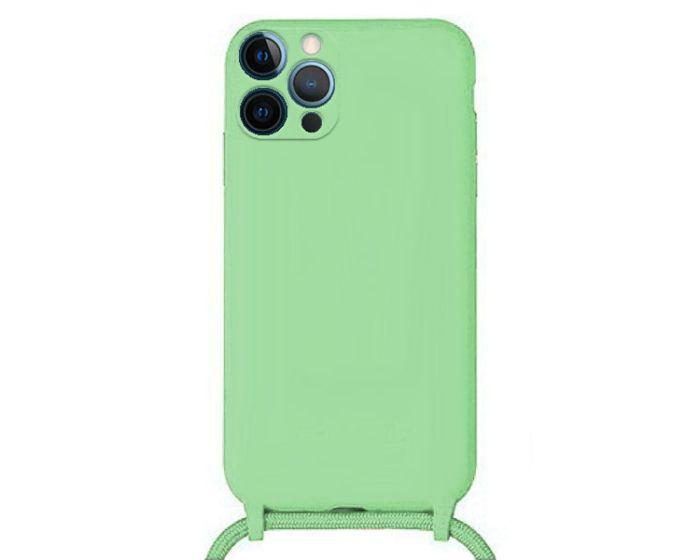 Liquid Silicone Cord Case Θήκη Σιλικόνης με Λουράκι - Green (iPhone 12 Pro Max)