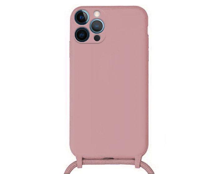 Liquid Silicone Cord Case Θήκη Σιλικόνης με Λουράκι - Pink (iPhone 12 Pro Max)