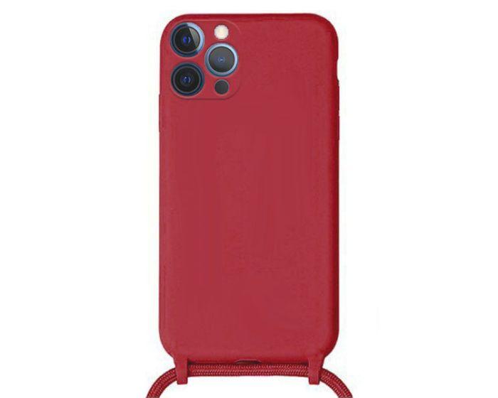Liquid Silicone Cord Case Θήκη Σιλικόνης με Λουράκι - Red (iPhone 12 Pro Max)