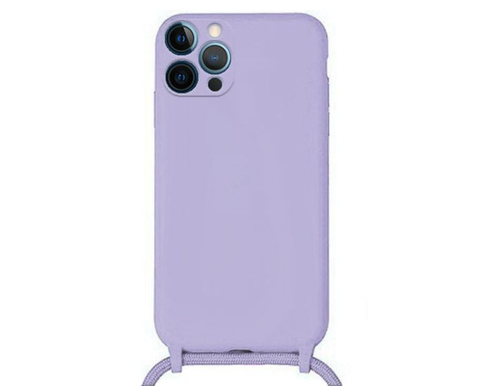 Liquid Silicone Cord Case Θήκη Σιλικόνης με Λουράκι - Violet (iPhone 12 Pro)