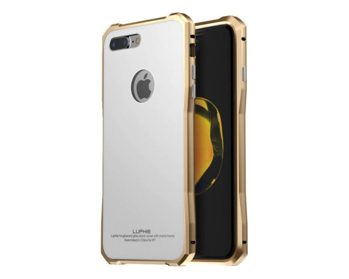 Luphie Metal Bumper & Tempered Glass Back Case (60581) White / Gold (iPhone 7 / 8)