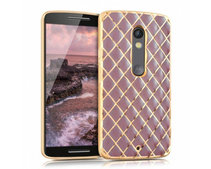 KWmobile Luxury Diamonds Slim Fit Gel Case Θήκη Σιλικόνης (37426.08) Pink / Gold (Motorola Moto X Play)