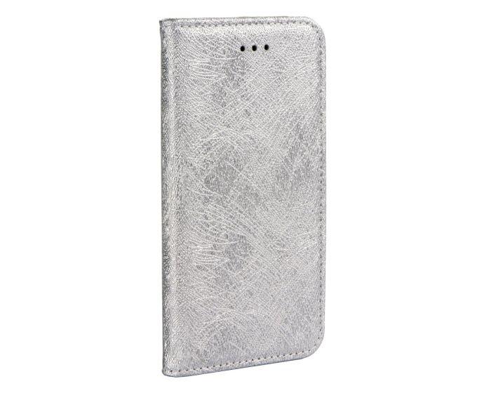 Forcell Glitter Magic Shine Glitter Wallet Case Θήκη Πορτοφόλι με δυνατότητα Stand Silver (Samsung Galaxy A8 Plus 2018)