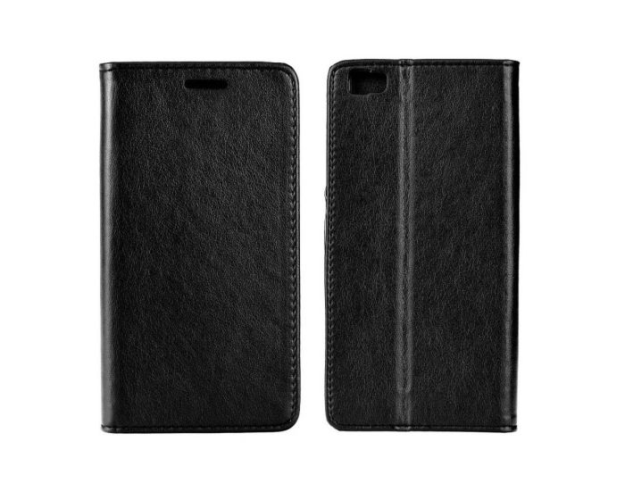 Forcell Magnet Wallet Case Θήκη Πορτοφόλι με δυνατότητα Stand Black (Huawei Ascend P8 Lite)