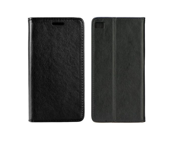 Forcell Magnet Wallet Case Θήκη Πορτοφόλι με δυνατότητα Stand Black (Huawei Ascend P8)
