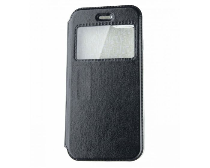 Forcell View Window Flip Stand  Case Black (Samsung Galaxy A8 Plus 2018)