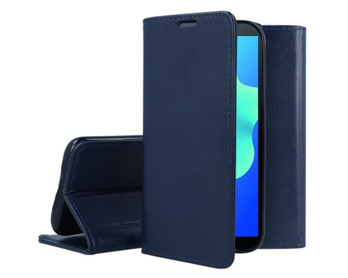 Forcell Magnet Wallet Case Θήκη Πορτοφόλι με δυνατότητα Stand Navy Blue (Huawei Y5 2018 / Y5 Prime 2018)
