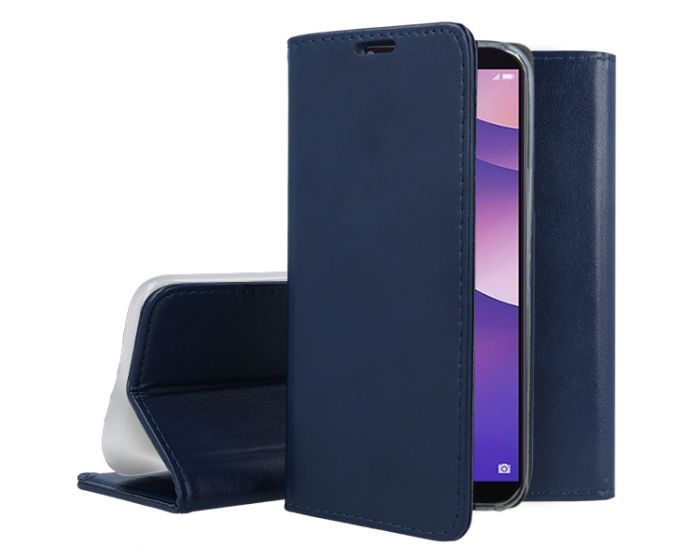 Forcell Magnet Wallet Case Θήκη Πορτοφόλι με δυνατότητα Stand Blue (Huawei Y7 Prime 2018)