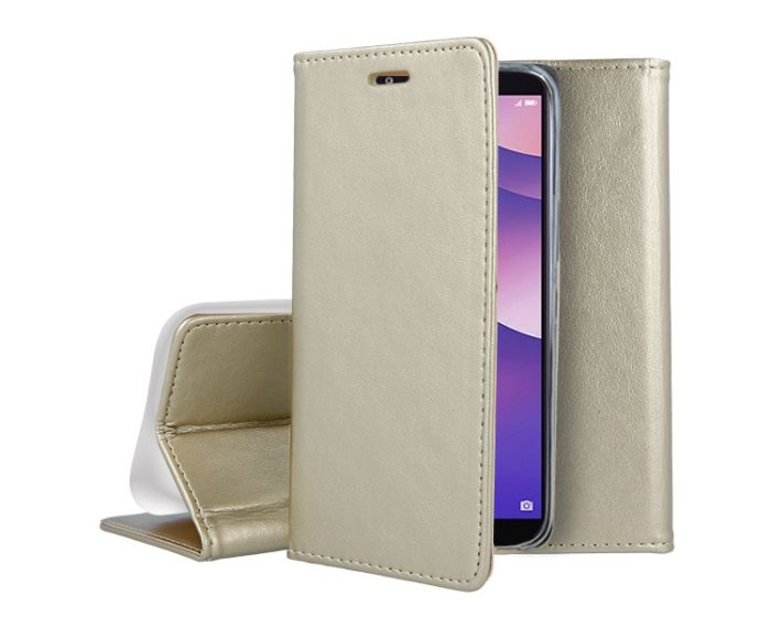 Forcell Magnet Wallet Case Θήκη Πορτοφόλι με δυνατότητα Stand Gold (Huawei Y6 Prime 2018)