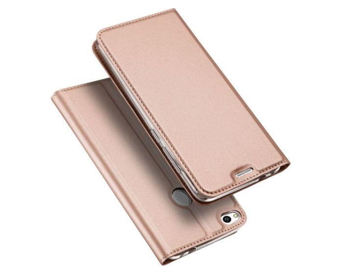 DUX DUCIS SkinPro Wallet Case Θήκη Πορτοφόλι με Stand - Ροζ Χρυσή (Huawei P10)