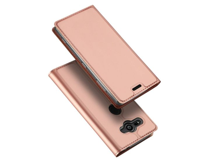 DUX DUCIS SkinPro Wallet Case Θήκη Πορτοφόλι με Stand - Rose Gold (Sony Xperia XZ2 Compact)