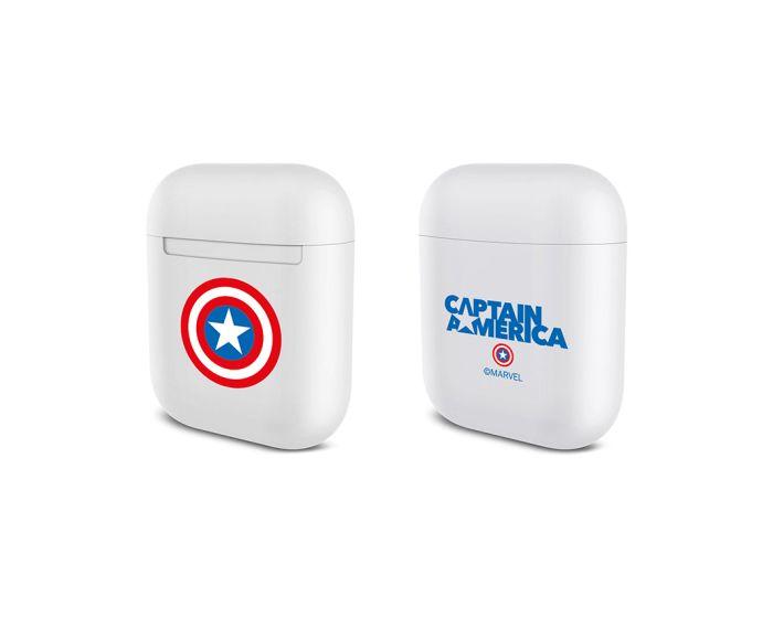 Marvel Durable Case Θήκη για Apple AirPods - Captain America 001 White
