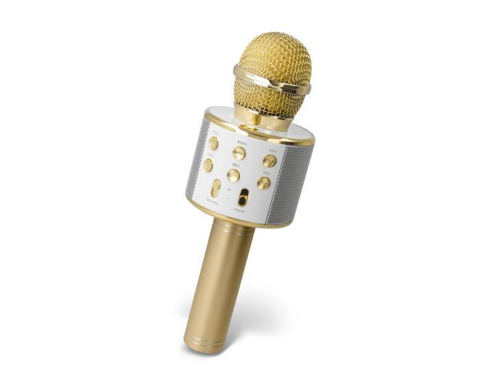 Maxlife MX-300 Microphone with Bluetooth Speaker Ασύρματο Μικρόφωνο Karaoke - Gold