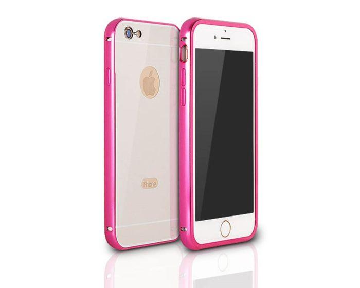 Aluminum Bumper & Back Mirror Cover - Pink / Silver (Huawei Ascend P8)