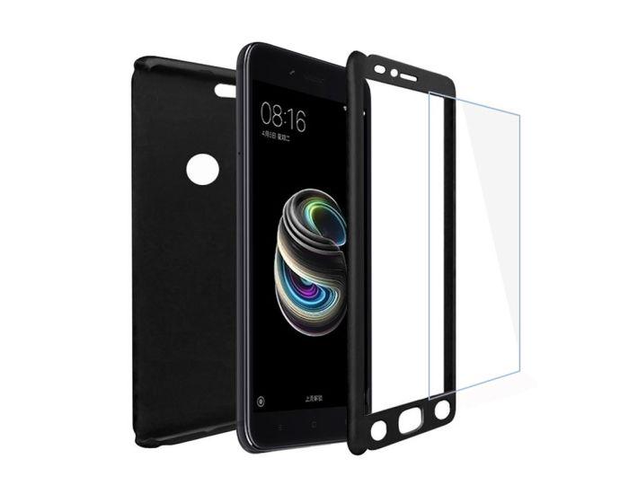 360 Full Cover Case & Tempered Glass - Black (Xiaomi Mi A1 / 5X)