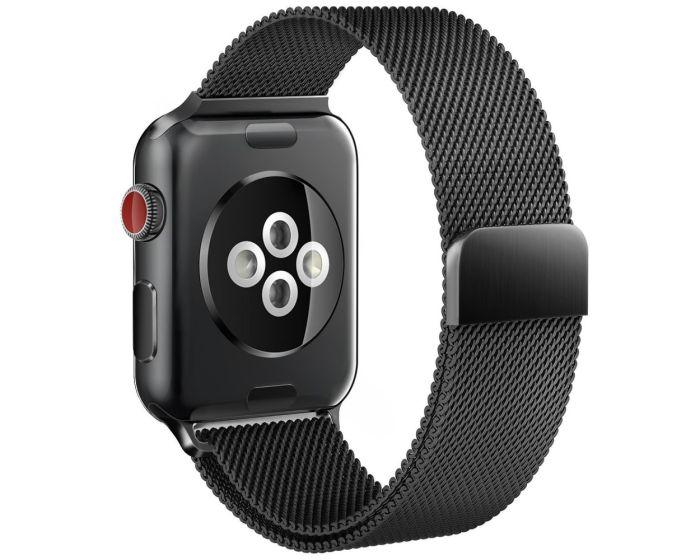 TECH-PROTECT Milanese Stainless Steel Watch Strap Black (περιλαμβάνει τα μεταλλικά κουμπώματα) για Apple Watch 38/40mm (1/2/3/4/5/6/SE)