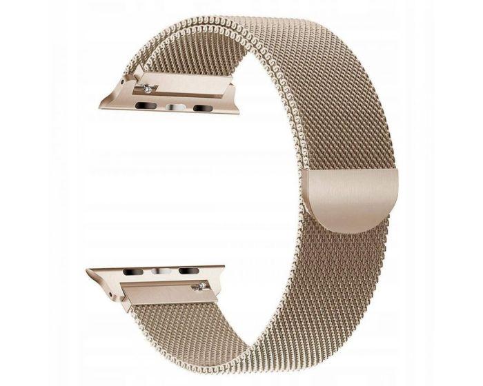TECH-PROTECT Milanese Stainless Steel Watch Strap Gold (περιλαμβάνει τα μεταλλικά κουμπώματα) για Apple Watch 42/44mm (1/2/3/4/5/6/SE)