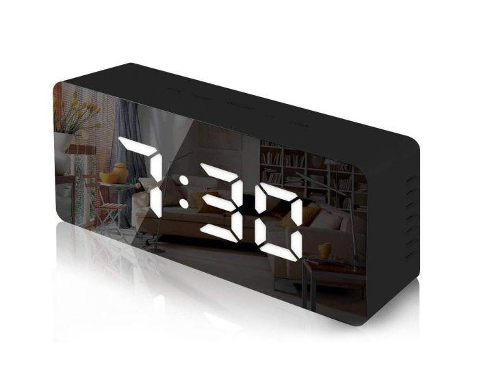 Mirror Digital Alarm Clock Επιτραπέζιο Ρολόι με Θερμόμετρο - Black