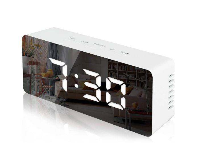 Mirror Digital Alarm Clock Επιτραπέζιο Ρολόι με Θερμόμετρο - White