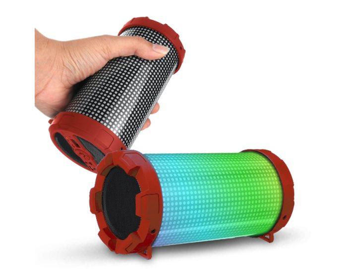 MK-3000 Bluetooth Speaker Tuba Led 3W Ασύρματο Ηχείο - Red