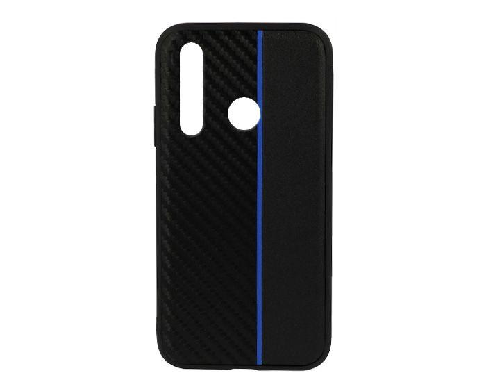 Moto Carbon Case with Stripe Ανθεκτική Θήκη Black / Blue (Huawei Nova 4)