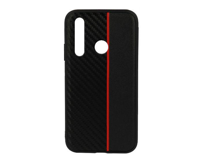 Moto Carbon Case with Stripe Ανθεκτική Θήκη Black / Red (Huawei Nova 4)