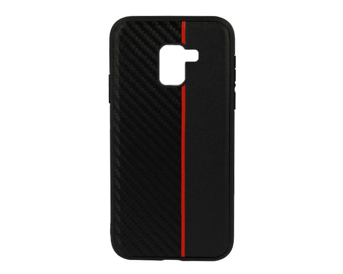 Moto Carbon Case with Stripe Ανθεκτική Θήκη Black / Red (Samsung Galaxy J6 2018)
