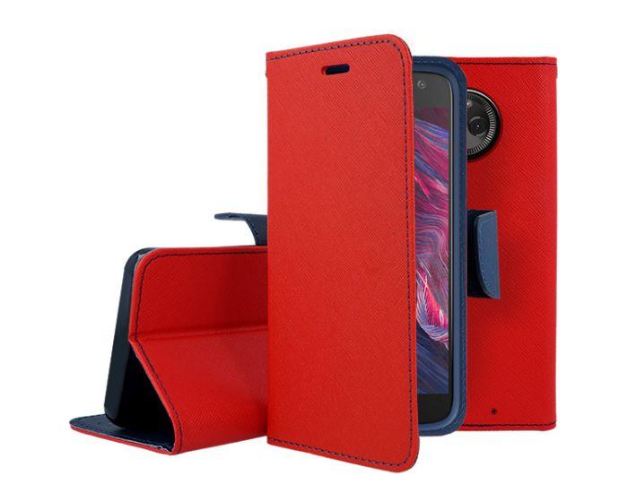 Tel1 Fancy Diary Θήκη Πορτοφόλι με δυνατότητα Stand Red / Navy (Motorola Moto X4)