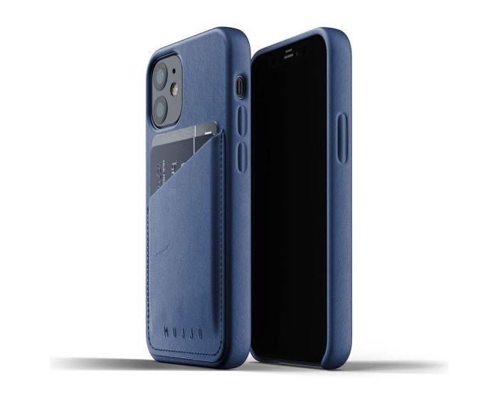 Mujjo Full Leather Wallet Case Δερμάτινη Θήκη - Monaco Blue (iPhone 12 Mini)