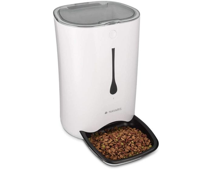 Navaris Automatic Pet Feeder 6L with Timer and Acoustic Notification (44769.01) Αυτόματο Μηχάνημα Τροφής για Κατοικίδια - White