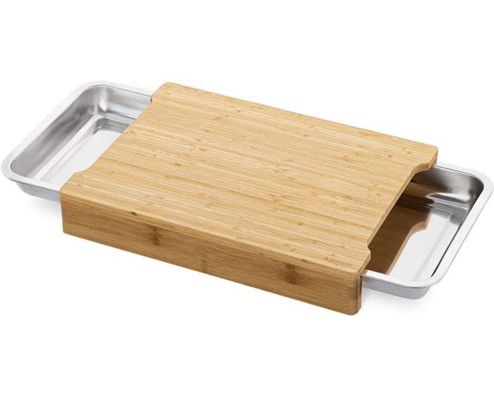 Navaris XL Chopping Board with Tray (47368.03) Ξύλο Κοπής από Bamboo με 2 Μεταλλικά Συρτάρια